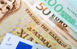 Драхмы и евро Стоковые Изображения RF