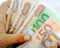 Драхмы и евро Стоковое Изображение