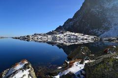Древесина голубого неба природы горы заволакивает отражение озера Стоковые Изображения