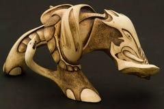 древесина гравировки слона Стоковое фото RF