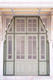 древесина двери стеклянная старая Стоковое Изображение