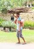 Древесина и младенец нося женщины Стоковые Фотографии RF