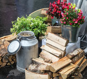 Древесина и чонсервные банкы топлива Стоковые Фотографии RF