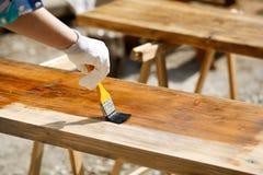 Древесина картины с деревянной краской защиты Стоковые Фото