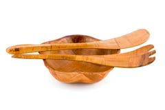 древесина ложки вилки шара Стоковая Фотография