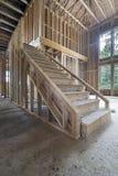Древесина обрамляя для лестницы дома Стоковая Фотография