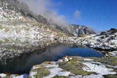 Древесина парка зеленого цвета голубого неба природы горы заволакивает отражение озера славное Стоковые Фотографии RF
