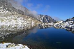 Древесина парка зеленого цвета голубого неба природы горы заволакивает отражение озера славное Стоковые Изображения