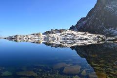 Древесина парка зеленого цвета голубого неба природы горы заволакивает отражение озера славное Стоковая Фотография