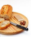 древесина плиты pate ножа фундуков хлеба Стоковые Фото