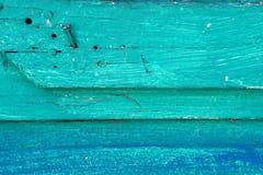 Древесина покрашенная бирюзой деревенская Стоковая Фотография