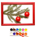 древесина рамки рождества шариков Стоковое Изображение RF