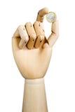 древесина руки евро монетки Стоковое Изображение RF