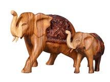 Древесина Таиланда высекая слонов Стоковая Фотография