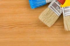 древесина paintbrush предпосылки цветастая Стоковая Фотография