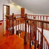 древесина railing настила Стоковые Изображения RF