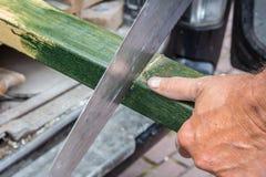 Древесина sawing человека Стоковое фото RF