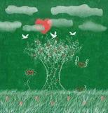 Древесины влюбленности греют на солнце как сердце, голуби дерево, трава иллюстрация вектора