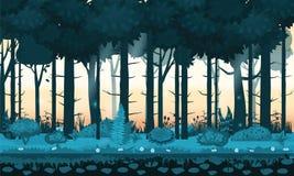 Древесины, silhouttes, деревья с кустами, папоротники и цветки леса Fairy леса яркие Для игры дизайна, apps, вебсайты бесплатная иллюстрация