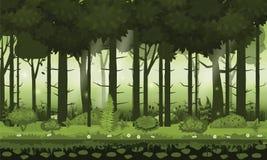 Древесины, silhouttes, деревья с кустами, папоротники и цветки леса Fairy леса яркие Для игры дизайна, apps, вебсайты иллюстрация штока