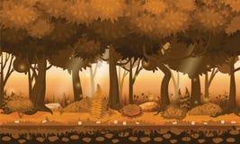 Древесины, silhouttes, деревья с кустами, папоротники и цветки леса Fairy леса яркие Для игры дизайна, apps, вебсайты иллюстрация вектора