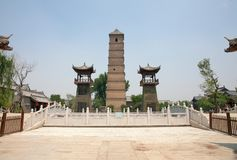 Древний город luoyi, Лояна, Китая - башни wenfeng стоковое изображение rf