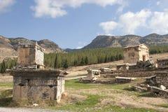 Древний город Hierapolis, Pamukkale, Турция стоковое изображение