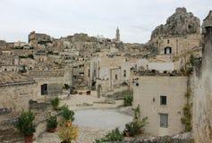 Древний город Matera на пасмурный день Стоковое фото RF