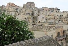 Древний город Matera на пасмурный день Стоковая Фотография