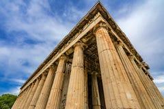 Древний храм агоры Афин Греции столбцов Hephaestus стоковое изображение rf