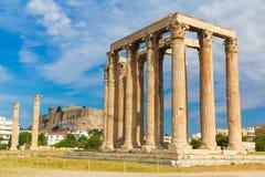 Древний храм Зевса, Olympeion, Афин, Греции Стоковое Фото