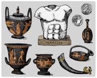 Древняя греция, античные символы, греческие монетки, скульптура heracles, год сбора винограда anphora, выгравировала руку нарисов иллюстрация штока