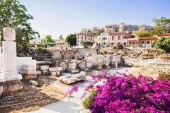 Древняя греция, деталь старинной улицы, района Plaka, Афин, Греции Стоковые Фото