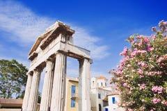 Древняя греция, деталь старинной улицы, района Plaka, Афин, Греции Стоковые Фотографии RF