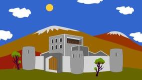 Древняя крепость размещала глубоко в горах, красивом фоне, солнечном дне и горах бесплатная иллюстрация