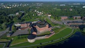 Древняя крепость Hameenlinna Видео антенны Финляндии видеоматериал
