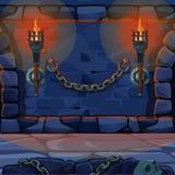 Древняя стена крепости с горящими факелами Иллюстрация конца-вверх шаржа вектора иллюстрация штока