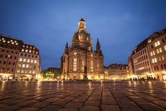 23 01 2018 Дрезден, Германия - квадрат Neumarkt и церковь Frauenkirche нашей дамы в Dre Стоковые Изображения