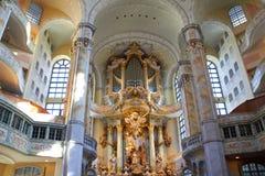 Дрезден, Германия - 10-ое октября 2018: Внутренний взгляд Дрездена Frauenkirche Церковь Lutheran в Дрездене Sightseeings Germa стоковое изображение