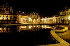 Дрезден на ноче стоковое фото rf