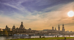 Дрезден в вечере Стоковые Изображения