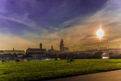 Дрезден в вечере Стоковое Изображение RF