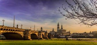 Дрезден в вечере Стоковые Изображения RF