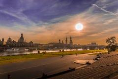 Дрезден в вечере Стоковая Фотография