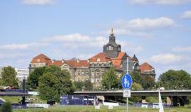 Дрезден, 28-ое августа: Панорама Эльбы от Дрездена в Германии Стоковые Изображения RF