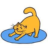 Дремотный милый оранжевый кот делает тренировки утра на половике также вектор иллюстрации притяжки corel Стоковое фото RF
