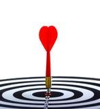 Дротик цели с стрелкой на белой предпосылке Стоковое фото RF