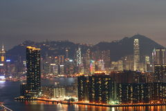 Другая сторона взгляда 2 ночи HK Стоковая Фотография