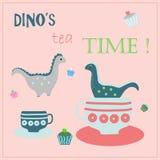Дружелюбный чай ` s динозавра выпивая, есть испечет Вектор времени чая иллюстрация вектора