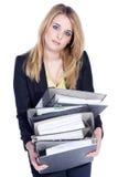 Дружелюбная бизнес-леди волочит папку Стоковые Изображения RF